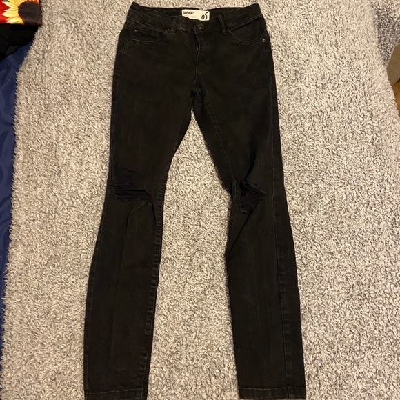 Black ripped garage jeans, size 5